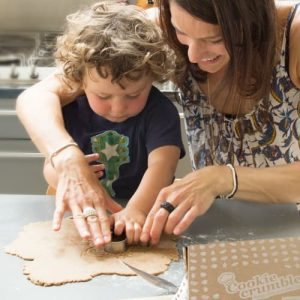 mum and son baking Cookie Crumbles gingerbread biscuits