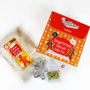 Cookie Crumbles gingerbread biscuit mix kit with dry ingredients bag, cutter and decorations