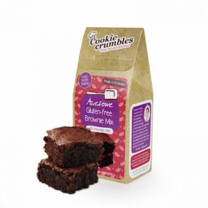 Cookie Crumbles gluten free brownie mix box and brownies