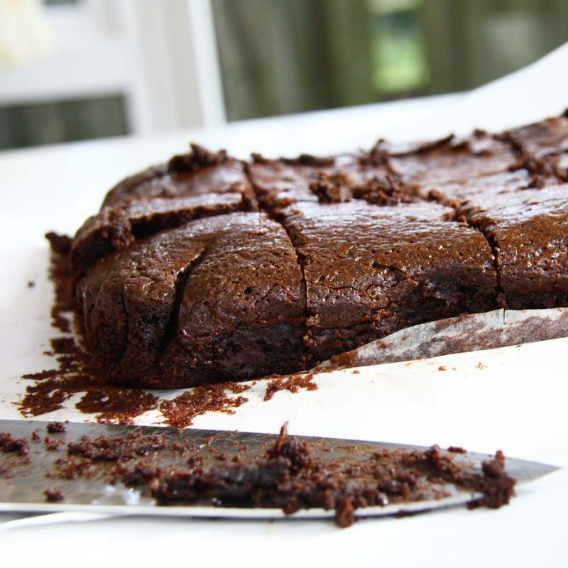 brownies cut with knife