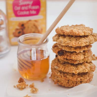 Cookie Crumbles oat and raisin cookies and honey