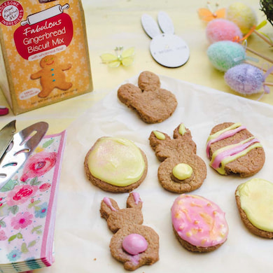 Cookie Crumbles gingerbread biscuits in easter theme shapes and decorated
