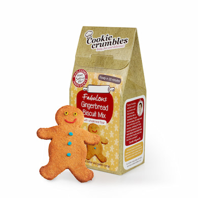 Cookie Crumbles gingerbread biscuit mix box and gingerbread biscuit