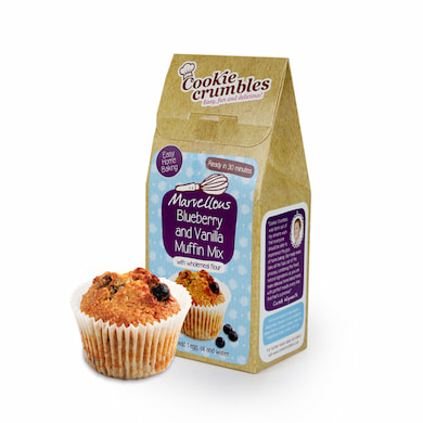 Cookie Crumbles blueberry muffin mix box and muffin