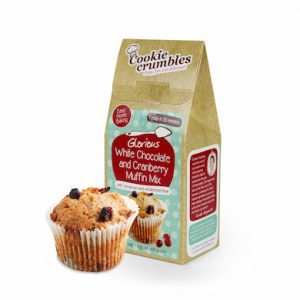 Cookie Crumbles white chocolate & cranberry muffin mix box and muffin